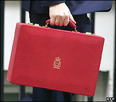 UK chancellor's red budget box - file pic
