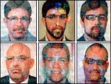 Faked British Passports. Top row, from left: James Leonard Clarke, Jonathan Louis Graham, Paul John Keeley. Bottom row, from left: Michael Lawrence Barney, Melvyn Adam Mildiner, Stephen Daniel Hodes