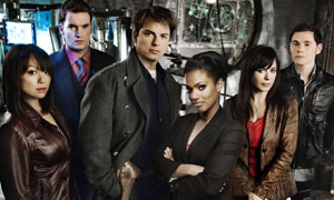 Picture shows (L-R): Naoko Mori (plays Toshiko), Gareth David-Lloyd (plays Ianto), John Barrowman (plays Captain Jack), Freema Agyeman (plays Martha), Eve Myles (plays Gwen) and Burn Gorman (plays Owen)