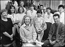 Jill Bennett and the Radio Norfolk newsteam in the 1980s.