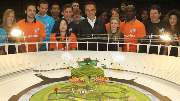 Danny Boyle and model of the set