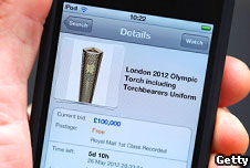 An Olympic torch auctioned on Ebay