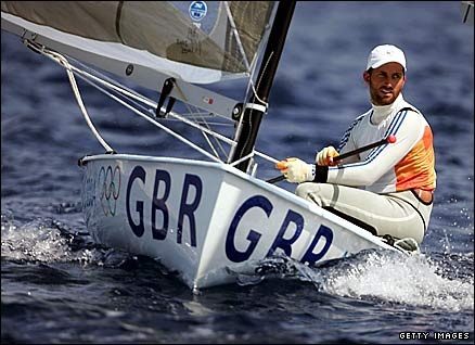 Britain's Ben Ainslie on his way to sailing gold in at the Athens 2004 Olympics