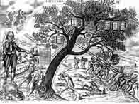 Cromwell cutting down the royal oak, along with the Bible, Magna Carta and British liberties