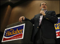 Republican candidate Mike Huckabee in Iowa