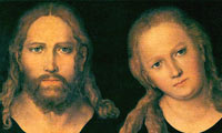 Depiction of Jesus as a fair-skinned man with long hair and a beard, with Mary, a long-haired woman with strong facial resemblance to Jesus, sitting by his side inclining her head slightly towards him. Both are looking directly at the viewer