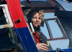 Kate Humble in a helicopter