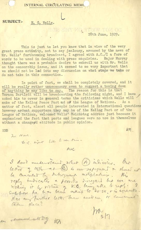 Memo from Hilda Matheson to John Reith regarding HG Wells broadcast.