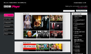 The BBC iPlayer home page