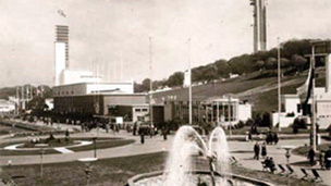 Black and white view of Bellahouston Park showing fountain, pavilions and tower that formed part of the Empire Exhibition.