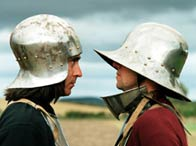 Photograph of Tony Pollard and Neil Oliver dressed for battle