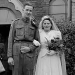 Muriel and Ron Axford on their wedding day in 1944