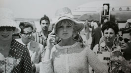 Brigitte Bardot arriving at Rome's Fiumicino Airport, 4 August, 1961. Photographed by Patrick Morin Images supplied courtesy of James Hyman Gallery,