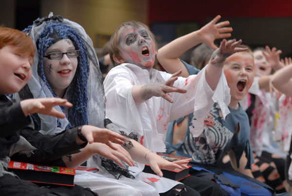 School children dressed as zombies