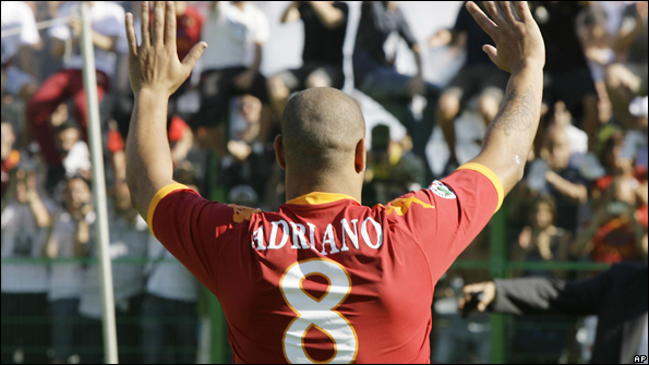 Adriano failed to make an impact at Roma after signing for the club amid much fanfare.