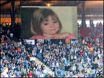 Big screen showing Madeleine McCann at UEFA Cup Final