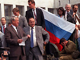 Boris Yeltsin delivers a speech from atop a tank outside the Russian Parliament.