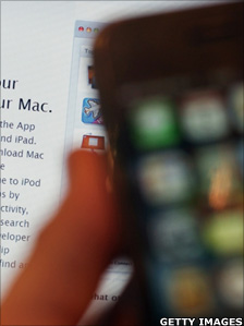 A computer displays onscreen the new Apple App store