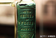 "The first ever published copy of Charles Darwin""s ""On The Origin Of The Species"" is displayed as part of a new exhibition at Down House on February 9, 2009 in Orpington, England."