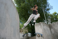 A woman practising Parkour