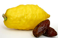 Photo of a etrog and dates