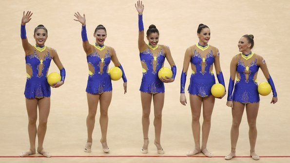 British rhythmic gymnasts wave to crowd