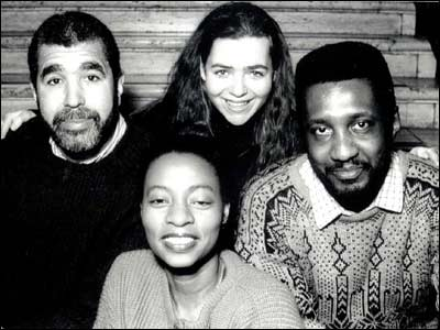 (l-r): Caribbean Service 1991: Editor Hugh Crosskill, Producer Debbie Ransome, Radio Production Assistant Tracey Robbins, Producer Mike Jarvis