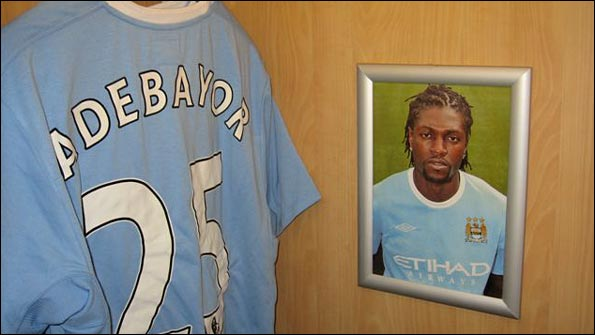Emmanuel Adebayor's personal space in the Man City dressing room