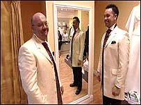 Kevin and Craig in wedding suits
