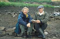 Photo of Julian Richards and Martin Carver at the Tarbat dig