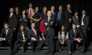 The Apprentice: Sir Alan Sugar with (L-R sitting) Ian Stringer, Shazia Waheb, Lee McQueen, Lindi Mngaza, Alex Wotherspoon, (L-R standing) Nicholas De Lacy Brown, Jennifer Celerier, Jennifer Maguire, Raef Bjayal, Claire Young, Lucinda Ledgerwood, Kevin Shaw, Simon Smith, Helene Speight, Sara Dhada and Michael Sophocles