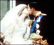 Image of Charles & Diana kissing on their wedding day