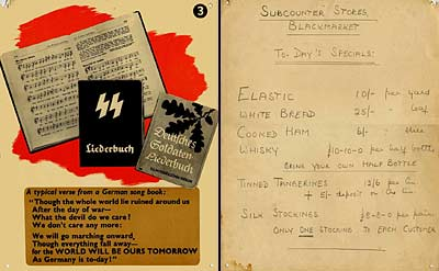 Image showing an exhibition card and shopping list from World War Two