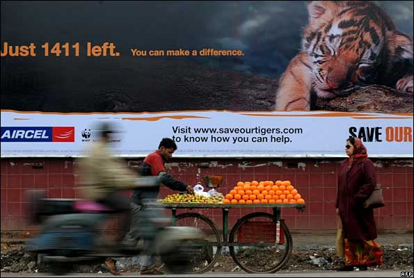 A tiger conservation advert in India