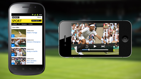 Sport video mocked up on two iPhones - the list of videos and a single video of a tennis match playing.