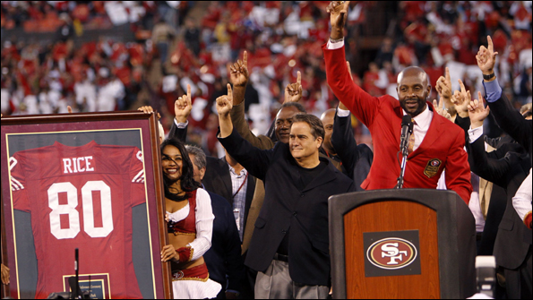Rice had his number 80 jersey retired by the 49ers in September. Photo: Reuters