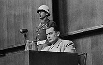 Photo of Hermann Goering being cross-examined at the Nuremberg Trials