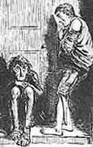 Hand drawn illustration of two ragged looking children standing in a doorway