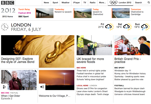 Screen grab of BBC Homepage with the Olympic area extended at the top and promoting three days of the torch relay.