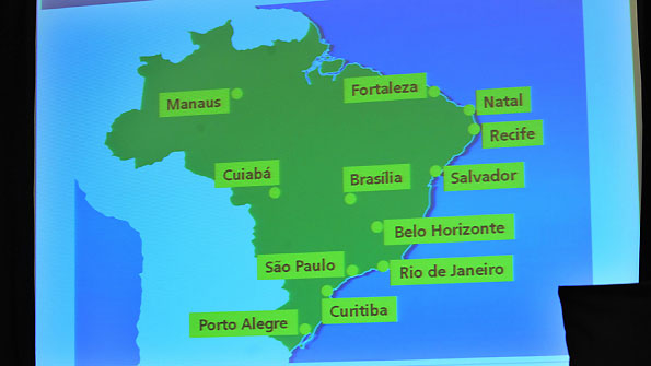 The World Cup 2014 takes in host cities speard far apart.