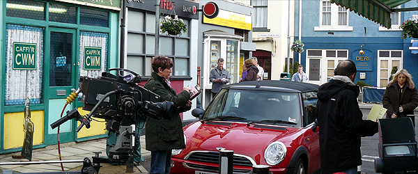 The set for the Stryd Fawr (or High Street) in the soap opera village of Cwmderi, as featured on S4C's Pobol y Cwm.