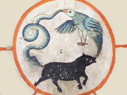 The centrepiece of the wheel diagram. A bird, a snake and a pig are rushing around in a circle, each holding the tail of the next in its mouth.