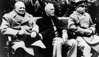 British Prime Minister Winston Churchill and Soviet leader Joseph Stalin, pictured at the Yalta Conference in 1945