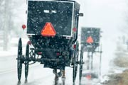 Two Amish horse-drawn buggies with reflective safety triangles attached to them drive through the snow