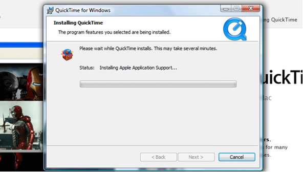 QuickTime step 9 – Installing QuickTime