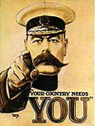 Lord Kitchener, depicted in the famous recruitment poster '