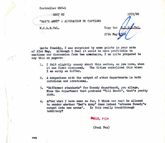 Bbc - Archive - Dad'S Army At 40 - Memo From Controller Of Bbc1 To