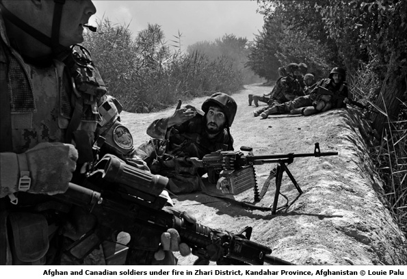 Afghan and Canadian soldiers under fire