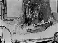 Matt Busby in hospital after the crash
