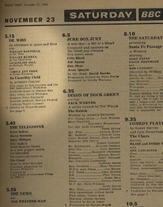tv listings. \u0027radio times\u0027 tv listing, 23 november, 1963 tv listings